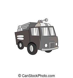 Fire truck icon, black monochrome style