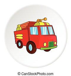 Fire truck icon, cartoon style