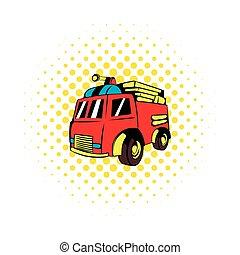 Fire truck icon, comics style