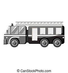 Fire truck icon, gray monochrome style