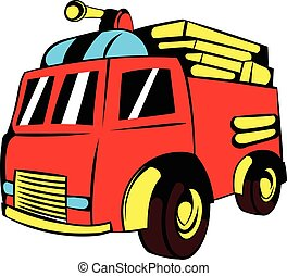 Fire truck icon, icon cartoon