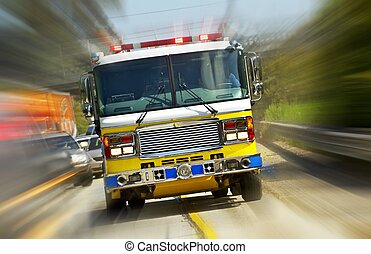 Fire Truck in Action - California, USA. Fire Department at...