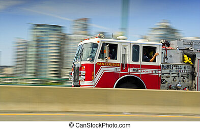 fire truck in movement