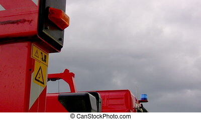Fire truck in position with light f