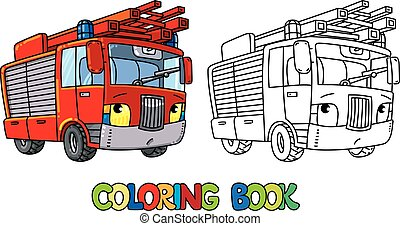 Fire truck or firemachine with eyes Coloring book