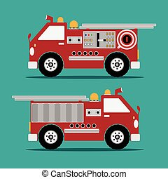 Fire truck red engine car with shadow on green background. Vector illustration.