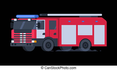 Fire Truck Rides with Flashing Lights On. Transparent Background.