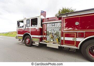 Fire truck, San Francisco - An american fire brigade truck...
