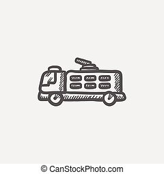 Fire truck sketch icon