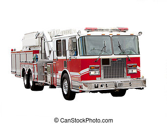 Fire Truck - A red fire truck isolated on white