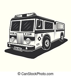 Fire truck vector monochrome style illustration