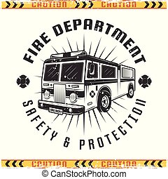 Fire truck vector retro emblem for fire department