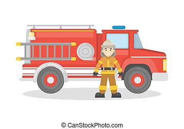 Fire truck with firefighter.