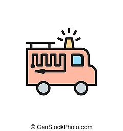 Fire truck with flasher flat color line icon.