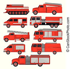 Fire trucks set, emergency vehicles, side view vector Illustrations on a white background