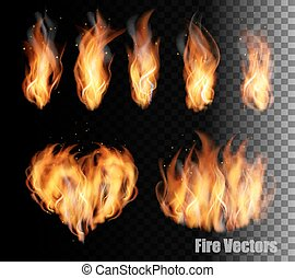 Fire vectors on transparent background.