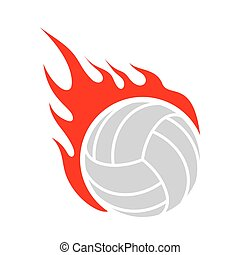 Fire volleyball. Flame ball. Emblem game sport team