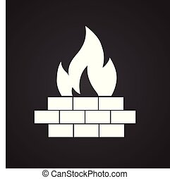Fire wall on black background for graphic and web design, Modern simple vector sign. Internet concept. Trendy symbol for website design web button or mobile app.