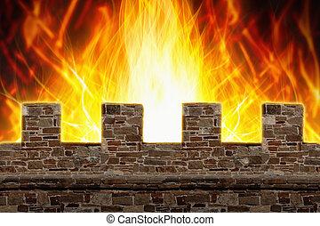 Fire, wall