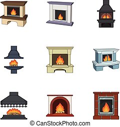 Fire, warmth and comfort. Fireplace set collection icons in cartoon style vector symbol stock illustration web.