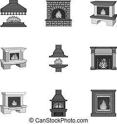 Fire, warmth and comfort. Fireplace set collection icons in monochrome style vector symbol stock illustration web.