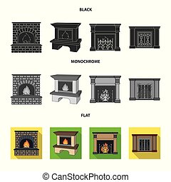 Fire, warmth and comfort.Fireplace set collection icons in black, flat, monochrome style vector symbol stock illustration web.