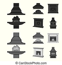Fire, warmth and comfort.Fireplace set collection icons in black,monochrome style vector symbol stock illustration web.