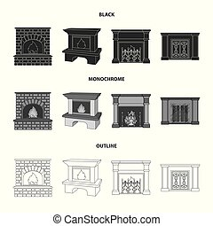 Fire, warmth and comfort.Fireplace set collection icons in black,monochrome,outline style vector symbol stock illustration web.