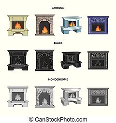 Fire, warmth and comfort.Fireplace set collection icons in cartoon,black,monochrome style vector symbol stock illustration web.