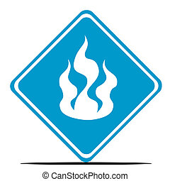 Fire warning sign - Blue fire diamond shaped sign isolated...
