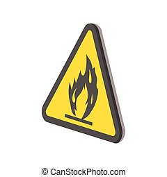 Fire warning sign cartoon icon