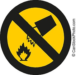 Fire warning sign . Flammable, inflammable substances icon. ...