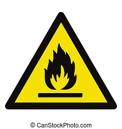 Fire warning sign in yellow triangle. Flammable, inflammable substances icon. Vector