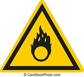 Fire warning sign in yellow triangle. Flammable, inflammable...