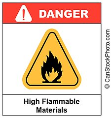 Fire warning sign in yellow triangle. High Flammable Materials