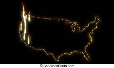 Fire west coast USA map wildfire 4k