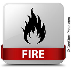 Fire white square button red ribbon in middle