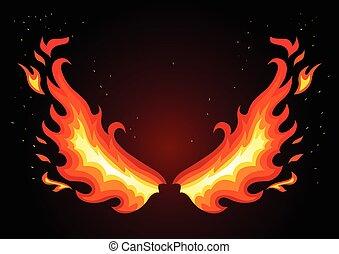 Fire wings on dark background