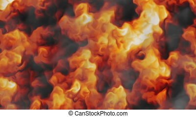 Fire with black smoke background wide
