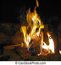 Fire with embers in the fireplace