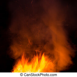 fire with smoke on a black background