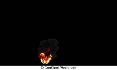 Fire With Thick Heavy Smoke On Transparent Background