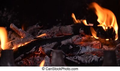 Fire with wooden logs burning in fireplace