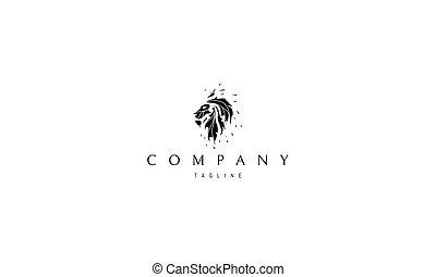 fire., wizerunek, lew, kształt, wektor, logo, abstrakcyjny