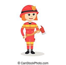 fire woman holding axe