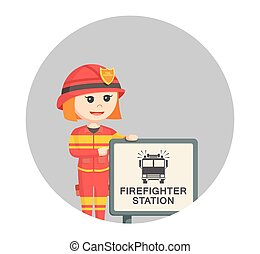 fire woman with firefighter station sign in circle background