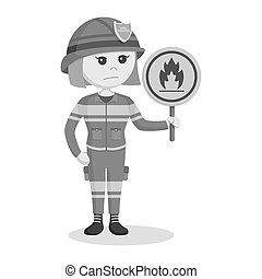 Fire woman with flammable sign