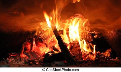 Fire wood brighly burning in furnace. Fire and flames - Fire...