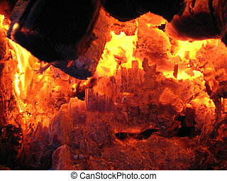 Fire wood burning in the furnace