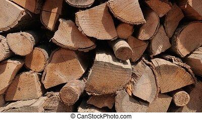 Fire wood pile - Pile of firewood sliding shot